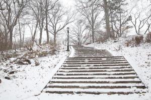 kissena park op sneeuwende dag