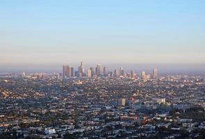 Downtown Los Angeles bij zonsondergang foto