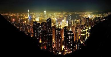 hong kong stad nachttijd foto
