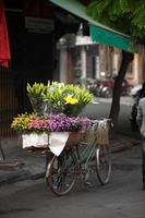 bloemen straatventer in hanoi stad, vietnam.