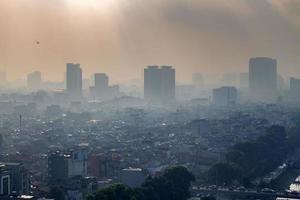 luchtfoto van de skyline van Hanoi stadsgezicht foto