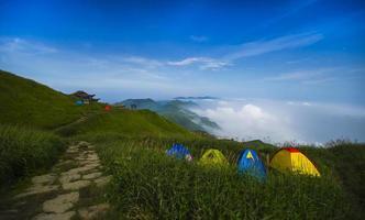 camping, tent, berg, wandelen, foto