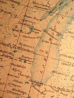 antieke kaart, amerikaans meer michigan - milwaukee / chicago gebied. foto