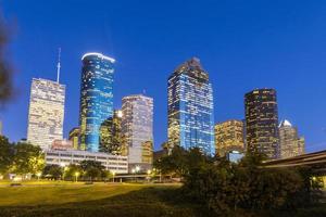 uitzicht op het centrum van Houston 's nachts foto