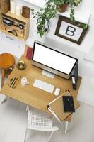 luchtfoto van moderne creatieve werkruimte. foto