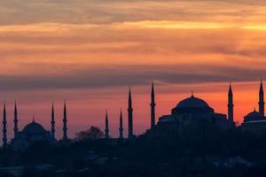 blauwe moskee en hagia sofia foto