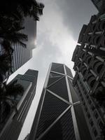 groothoek op wolkenkrabbers in Kuala Lumpur, Maleisië foto