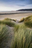 zomeravond landschap uitzicht over met gras begroeide zandduinen op het strand foto