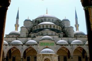 blauwe moskee ingang foto
