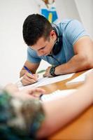 student met een test foto