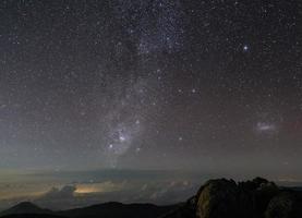 prachtige nachtelijke hemel met sterren en melkweg. merida, venezuela foto
