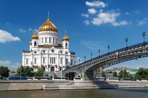 kathedraal van Christus de Verlosser en patriarshy bridge in Moskou foto