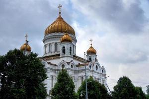 Rusland: koepels van de Sint-Salvatorskathedraal in Moskou. foto
