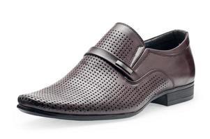 enkele klassieke bruine leren schoenen voor heren, zonder veters foto