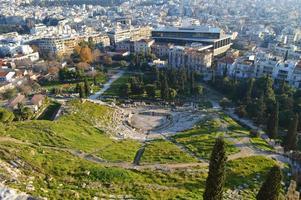bovenaanzicht theater van Delphi in de Akropolis van Athene foto