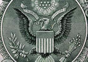 de een dollar geïsoleerd op witte achtergrond !!! foto