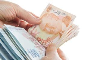 geld tellen - Turkse lira foto