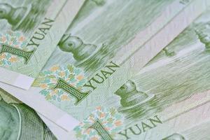 Chinese yuan bankbiljetten (renminbi) voor geld en zakelijke conce foto