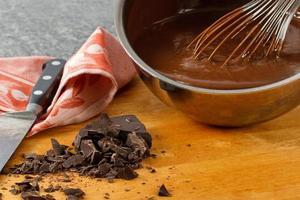 sauspan met chocoladepudding foto