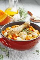 kip gebakken met pompoen foto