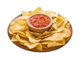 chips & salsa met een uitknippad foto