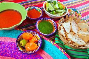 Mexicaans eten gevarieerd chili sauzen nacho's citroen foto