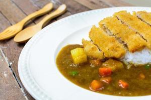 Japanse curry en tonkatsu foto