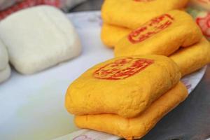 tofu is een schijf op de markt foto
