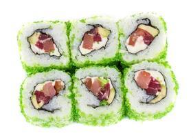 Tobiko pittige maki sushi foto