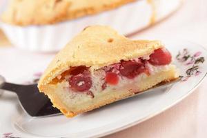 Baskische kersencake op een plaatclose-up foto
