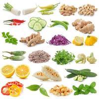 set van groenten geïsoleerd op een witte achtergrond foto