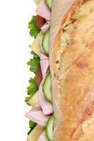 stokbrood met ham van bovenaf foto