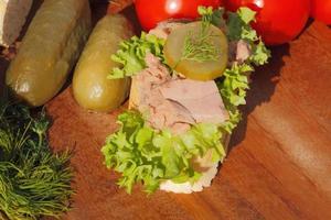 stuk stokbrood met tonijnfilet foto