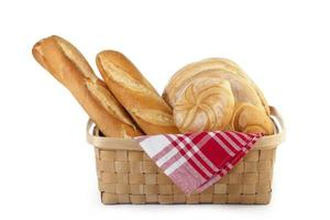 mand met diverse soorten brood foto