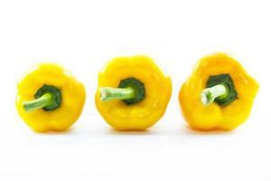 rij gele chili capsicum in verschillende maten foto