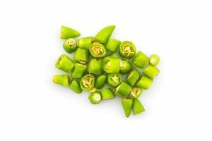 gehakte groene chili. foto