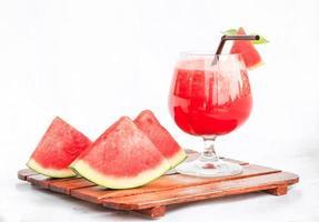 watermeloen en watermeloen smoothie foto