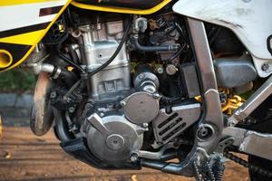 close-up van motor motor. foto