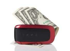 mobiele telefoon met geld foto