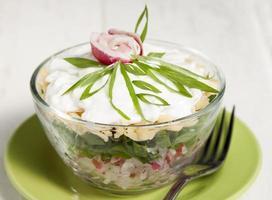 radijssalade met groene uien, kaas en room.