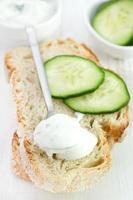 yoghurtkomkommersaus met brood foto