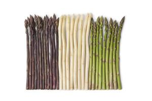 paarse, witte en groene asperges foto