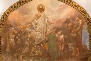 banska bela - het fresco van de genezing van Christus foto