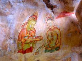 oude sigiriya fresco schilderij foto