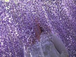 meisje in blauweregen bloemen foto