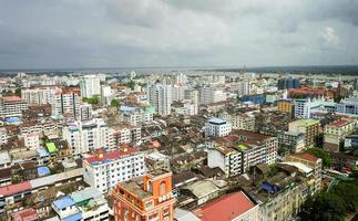 yangon skyline van de stad