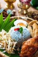 traditioneel Maleis eten nasi kerabu foto