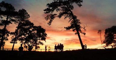 landschap van zonsondergang foto