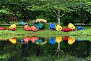 kleurrijke kajaks aan de oever van een vijver foto