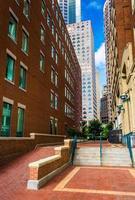 loopbrug tussen gebouwen in Boston, Massachusetts. foto